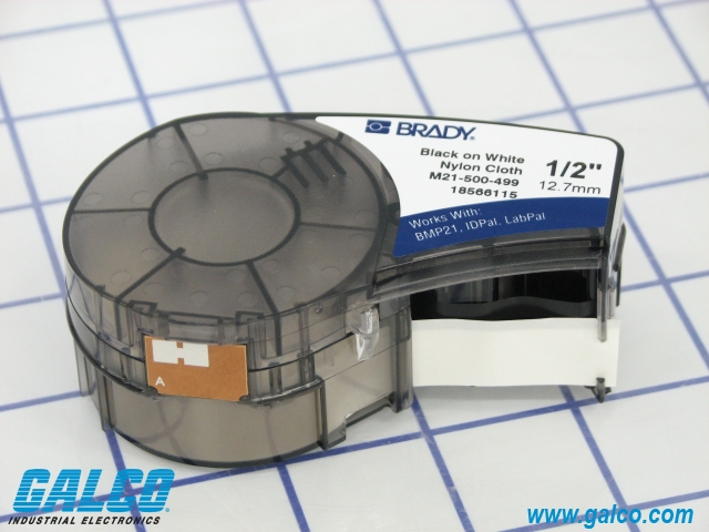 Works with: BMP21 BMP21-Lab IDPal and LabPal Brady Black-on-White Nylon Cartridge Film 0.5 in. x 16 ft. BMP21-Plus