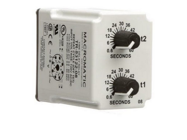 MACROMATIC TR-50222-08 Time Delay Relay,120VAC//DC,10A,DPDT