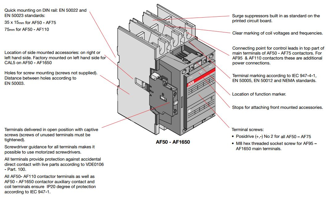 Abb Contactors Product Line And Specifications