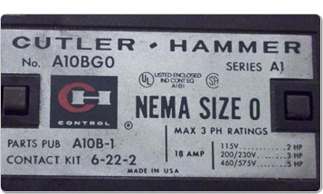 Cutler-Hammer label on an electrical component