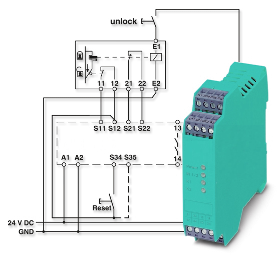 safety relays how and where safety relays work rh galco com Phoenix Safety Relay Wiring Examples Phoenix Safety Relay Wiring Examples