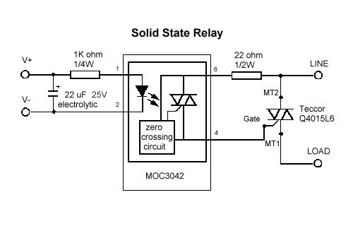 a relay diagram of a solid state relay circuit