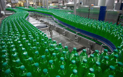 Conveyor Belt with bottles